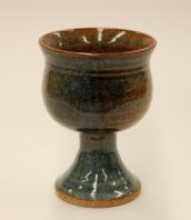 "Goblet; 3.5"" dia x 5"" h; Stoneware ;Dunham's Blue Glaze"