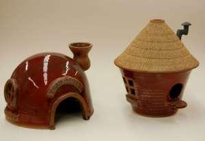 "Toad Abode; 8"" dia x 6"" h; Birdhouse; 7"" w x 8.5"" h"