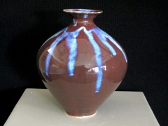 Vase, Porcelain, Copper Red w Opalescense overglaze, Cone 10 Reduction, 11 in h x 9 in dia.